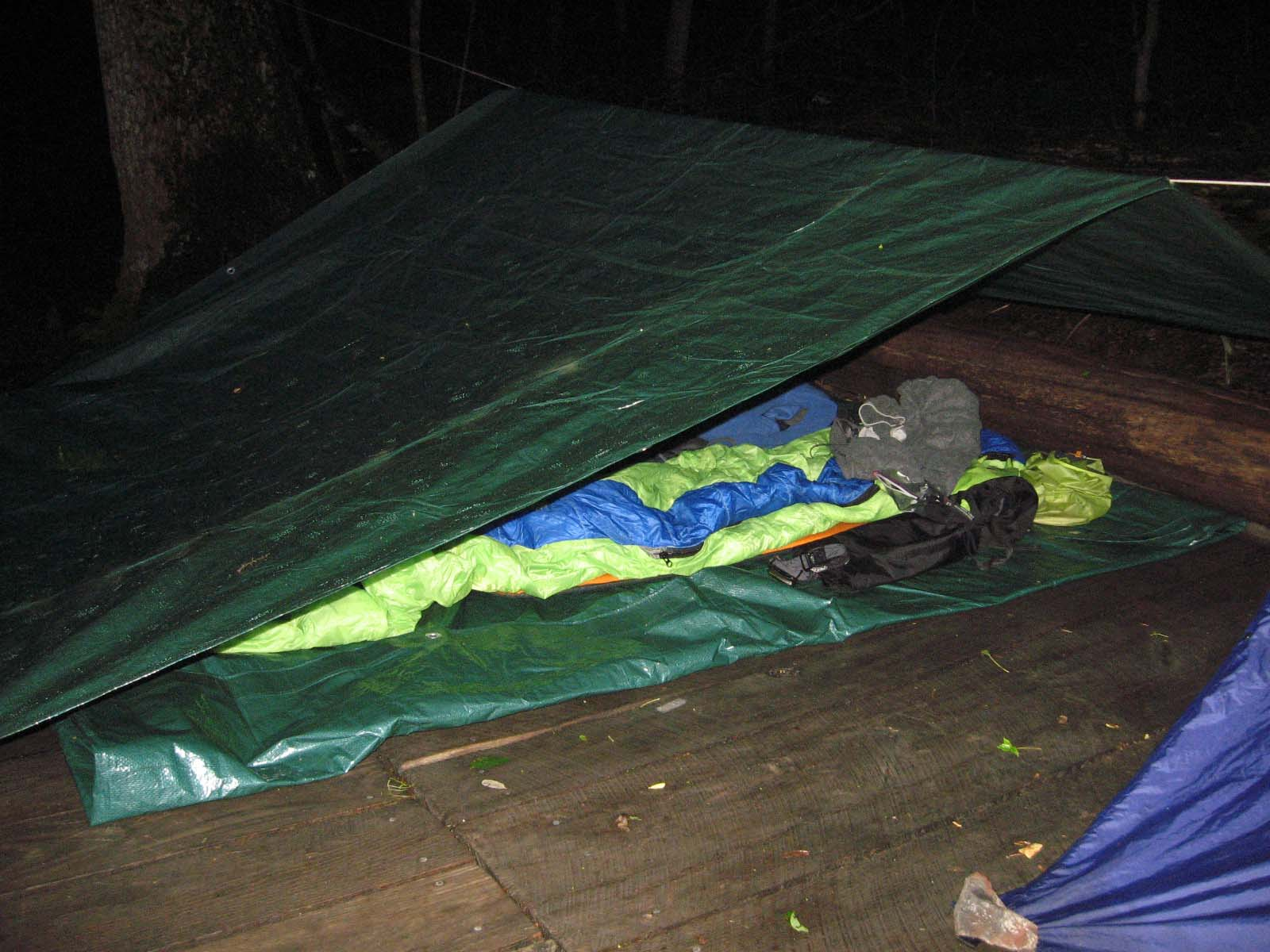 Our first attempt at the tarp shelter.