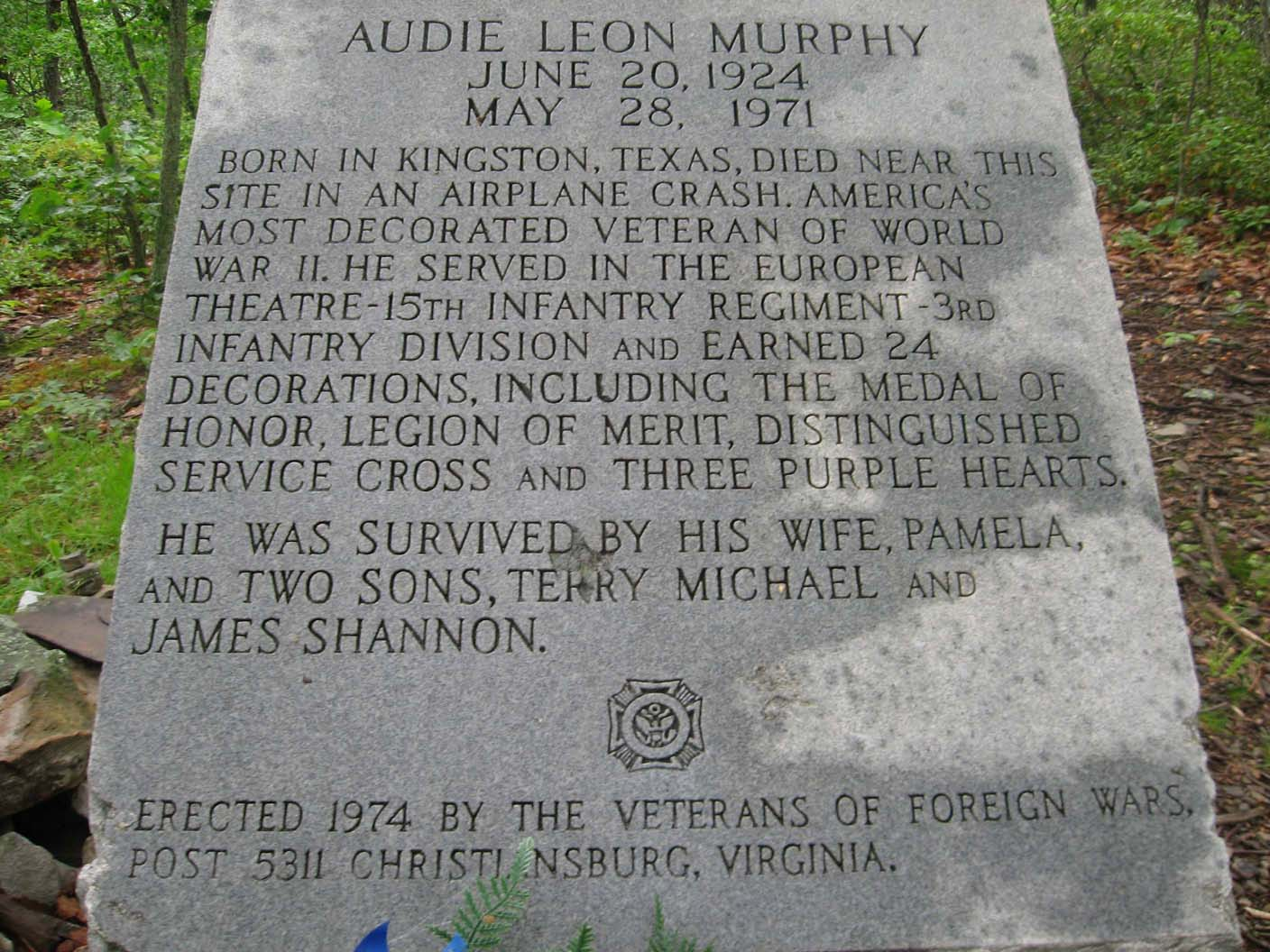 The Audie Murphy Monument. This WWII Veteran died in a plane crash off the AT.