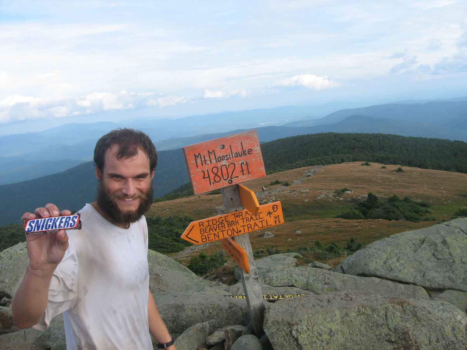 Optimus and his Snicker bar at the summit of Moosilauke.